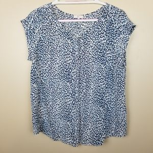 Joie 100% Silk Blue Animal Print Blouse size M